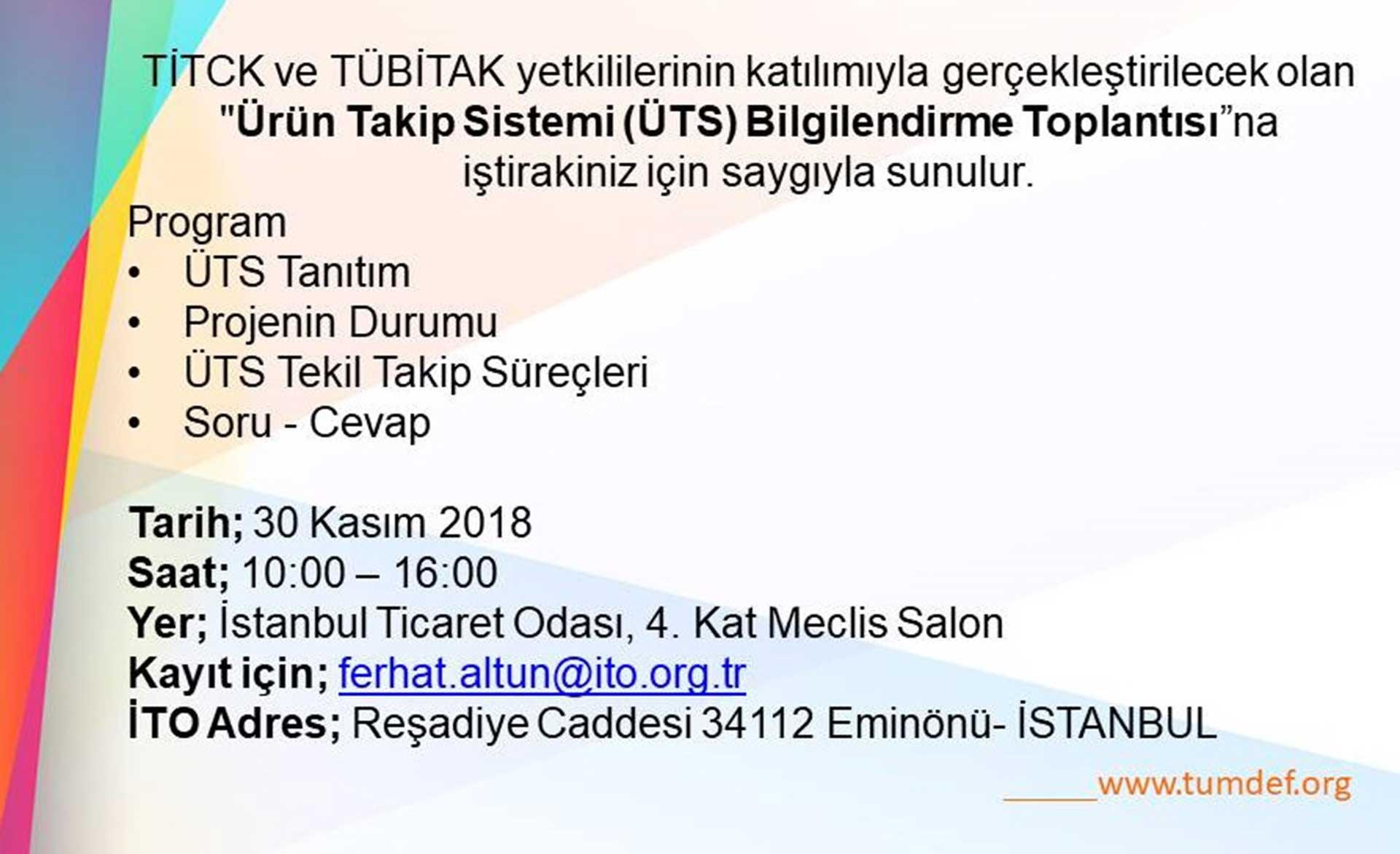 ÜTS toplantısı 30 Kasım'da İstanbul'da